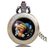 Taschenuhr für Herren und Damen, Planeten-Solarsystem, hohe Qualität, Quarz, Retro-Taschenuhr, Männer