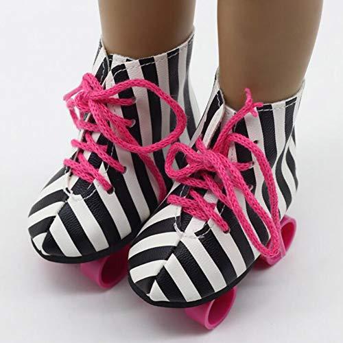 6SHINE Glitter Rollschuhe für 18 Zoll Puppen - Rollschuhe für American Girl Dolls - Die süßesten Puppenschuhe und Puppenzubehör - Pink/Bunt/Schwarz und Weiß