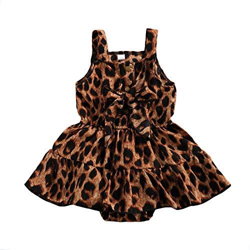 Mono de Vestido de Verano para Bebé y Niña Pequeña Mameluco sin Mangas de Tirantes Finos con Estampado de Leopardo Pelele Casual Ropa Juego de Bebé Recién Nacida(Leopardo, 12-18 Meses)