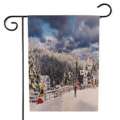 Sertiony Home Garden Flag Outdoor Garden Flag 12.5X18 Inches Resort Beautiful Attraction Place Ski of Europe in Brasov for Slope Farm Garden Flag Welcome Seasonal Garden Flags Set