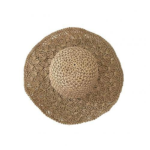 Sombrero de protección Solar de ala Ancha Tejido de Paja Hecho a Mano Plegable para Mujer Sombrero de PlayaSombrero deprotecciónSolar