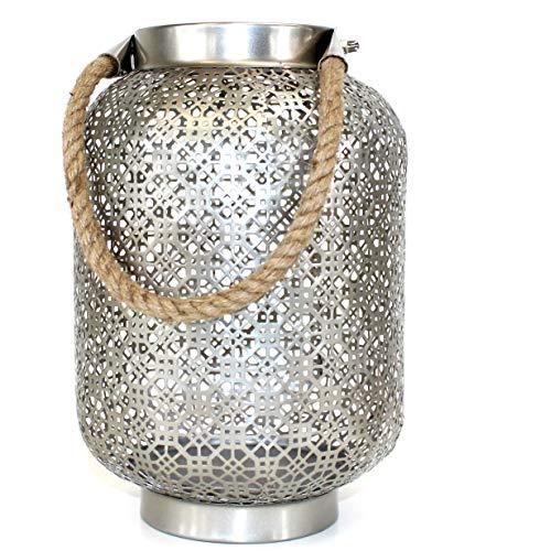 DESIGN Laterne Silber Bodenlaterne Windlicht Metall Modern GROß Shabby Orient ~ VDs 130