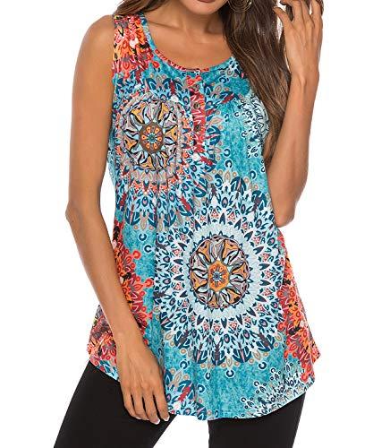 TUDOU Damen Gradient Tunika Top Sommer ärmellose Knöpfe Oben Hals lässig Plissiert Tank Tops Basic Flowy Bluse T Shirt (XXL, I Sonne blau)