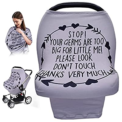 Baby Car Seat Cover, Metplus Nursing Breastfeeding Scarf Breathable Soft Stretchy - Multi Use Infant Carseat Canopy Newborn Carrier Covers, Babies Shower Gift for Boys Girls… (Gray) by Chongqing Hedingshizhengsheshiyouxiangongsi