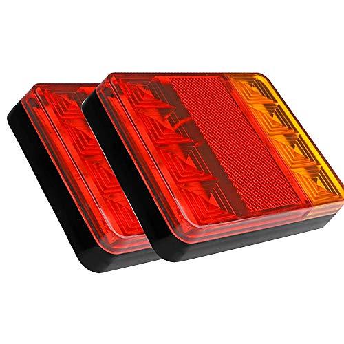 Enjoygoeu 2PCS 8LED Remolque Cola Luces Impermeable Piloto Trasero Luz Rojo Amarillo Freno Indicador Lámpara para Coche Camión Barco Espec 12v