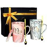 Chiguo Kaffeetassen Mr and Mrs Tassen Set Keramik Becher Geschenkbox 420ML Geschenk zum Weihnachten, Thanksgiving, Valentinstag, für Hochzeit, Verlobungen, Jubiläum, Geburtstage (420ml)