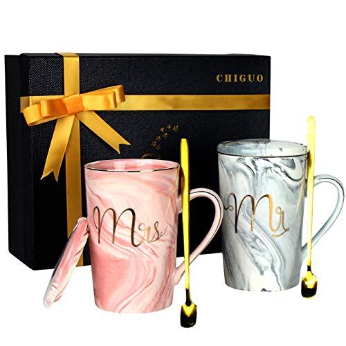 Chiguo Juego de Tazas - Mr y Mrs Tazas de Café Hermosamente Regalo de Boda/Novia y Novio/Pareja/Navidad/Aniversarios/San Valentín/Cumpleaños (420ml)