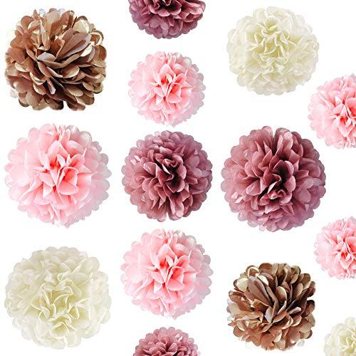Pompones de Papel de Seda, 20 piezas Decoración de Fiesta Pompom Flores, Decoraciones de Fiesta de Oro Rosa, Decoraciones de Flores para Cumpleaños, Baby Novia, Fiesta de Boda