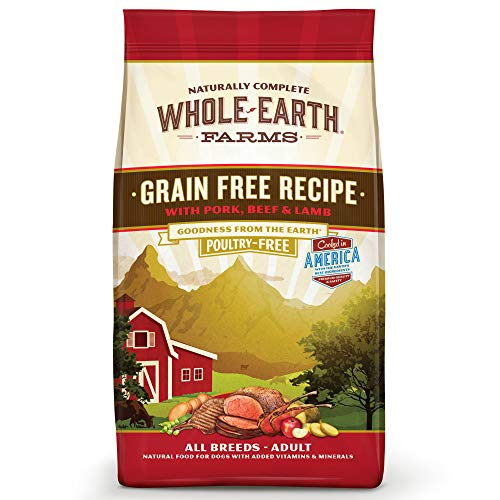 Whole Earth Farms Grain Free Recipe Dry Dog Food, Pork, Beef & Lamb, 4-Pound