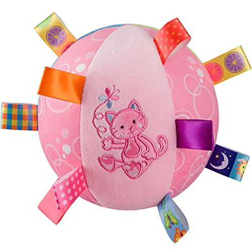 ZZ Lighting Baby Kid Infant Early Educational Soft Plush Tag Colorful Ball Hand Grasp with Bell Inside(Cat)
