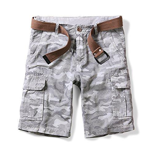 OCHENTA Men's Lightweight Camo Pattern Cargo Shorts Gray 42