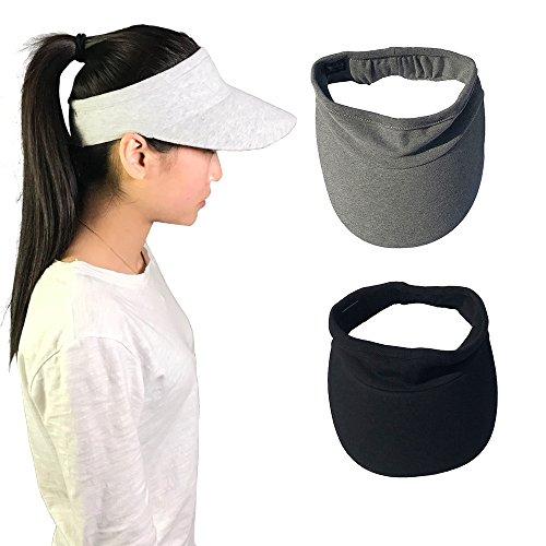 Xingo Elastic Sun Hat Visors Hat for Women Men in Outdoor Sports Jogging Running Tennis, Dark Grey, 10'