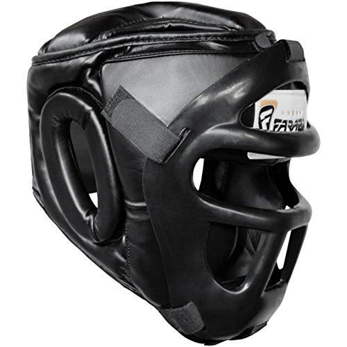Farabi Sports Guardia Protector de Cabeza Cara de Ahorro de Casco con la Cara Frontal extraíble Grill (Black, Large) 🔥