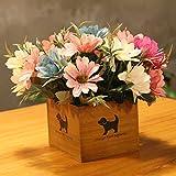 LLPXCC Flores artificiales Creativo casa floral mesa salón sencillo moderno europeo flores decorativas de madera jarrones plantas flores de plástico matrimonio estudio crisantemo