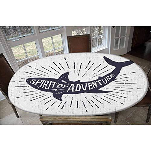 Housse de table élastique en polyester avec citation Spirit of Adventure sur un corps de poisson, motif grunge décoratif rectangulaire ou ovale pour table jusqu'à 121,9 cm de large x 172,7 cm de long