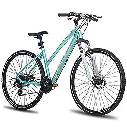commercial Hiland 700C Hybrid Bike, Mint Green Aluminum City Comfort Bike with Suspension Fork hybrid bikes