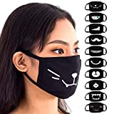 Face Mouth Mask - Cotton Face Covering (10 Pack) - Face Mask Resuable, Washable, Breathable, Adjustable - Adult and Child Size - Black Anime Designs