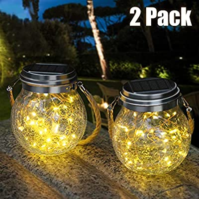 DBF Outdoor Solar Lantern Crackle Glass Ball, Upgraded 30 LED Hanging Solar Jar Lights Decorative Lighting Waterproof Solar Powered Patio Lights for Deck Fence Yard Garden Lawn - Warm White, 2 Pack
