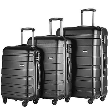 Merax Afuture 3 Piece Set Lightweight Luggage Spinner Suitcase (Black)