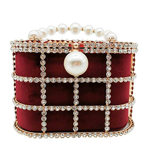 Warm Home Lady Parel Rode Wijn Emmer Tas Diamant Avondtas Handtas Ketting Meisje Bruiloft Party Gift Mode 19 * 10 * 13cm Leuk