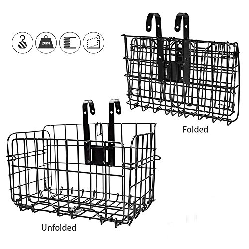 Check Out This HOMEE Folding Rear Bike Basket - Wire Mesh Detachable Front Bag, Handlebar Basket Rea...