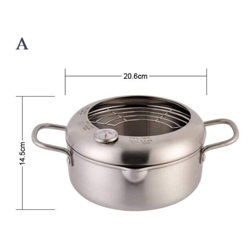 Sartén con termómetro de acero inoxidable olla freidora antiadherente con drenador tempura freidora utensilios de cocina,A: Amazon.es: Hogar
