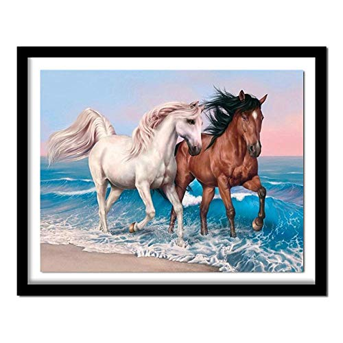 Diamante cuadrado completo 5D DIY Diamante Pintura Playa pareja caballo Bordado Punto de cruz Rhinestone Pintura Decoración Diamante cuadrado Los 30x25cm