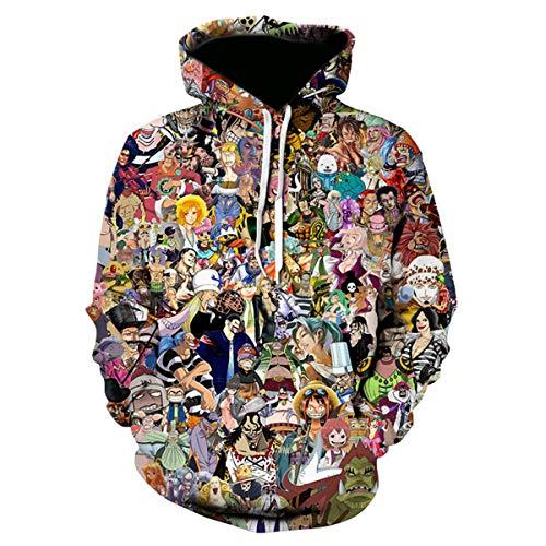 CHENMA Herren ONE Piece 3D-Druck Pullover Kapuzen-Sweatshirt mit Kängurutasche (M/EU S, Farbe 17)