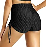 Awoscut Women Textured Leggings High Waist Yoga Pants Tummy Control Slimming Booty Tights Seamless Workout Shorts
