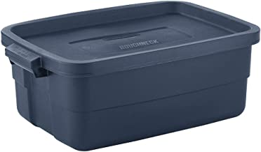 Rubbermaid RMRT100013® Roughneck Storage Tote, 10 Gal, Dark Indigo Metallic, Pack of 8, Rugged, Reusable, Stackable, Conta...
