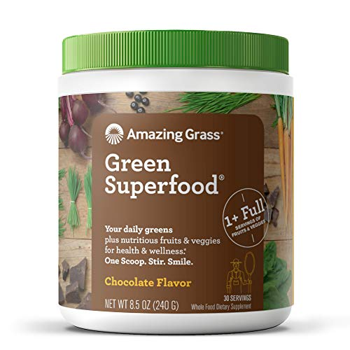 Amazing Grass Green Superfood: Super Greens Powder with Spirulina, Chlorella, Digestive Enzymes & Probiotics, Chocolate, 30 Servings
