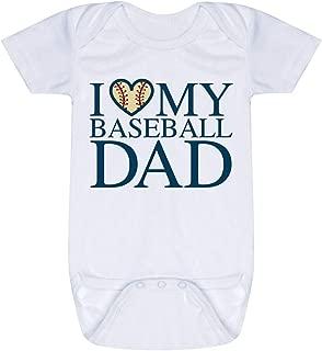 Baseball Baby & Infant Onesie | I Love My Baseball Dad | Navy | One Piece MD