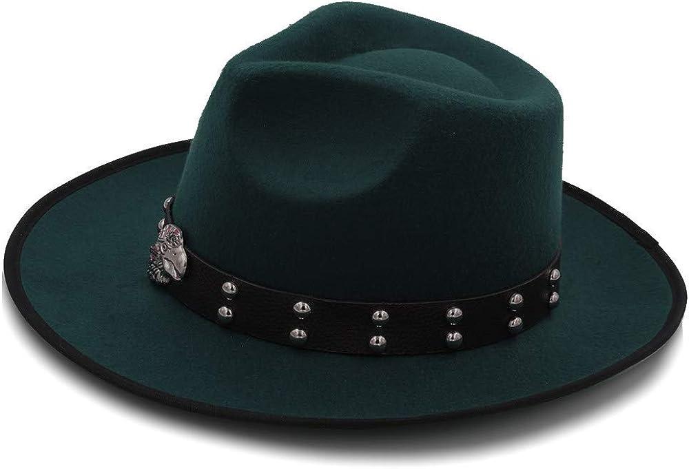 L.W.SUSL Women Men Wool Vintage Gangster Trilby Felt Fedora Hat with Curled Brim