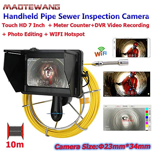 COUYY 7inch Industrielle Rohrleitung Kanalinspektion Kamera, DVR-Aufnahme/WiFi Wireless/Bildbearbeitung / 23mm HD 1080P Kamera / 10M