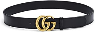 Womens Black Leather Belt Fashion Double G-Style Golden Buckle Girls Ladies Casual Waist Belts