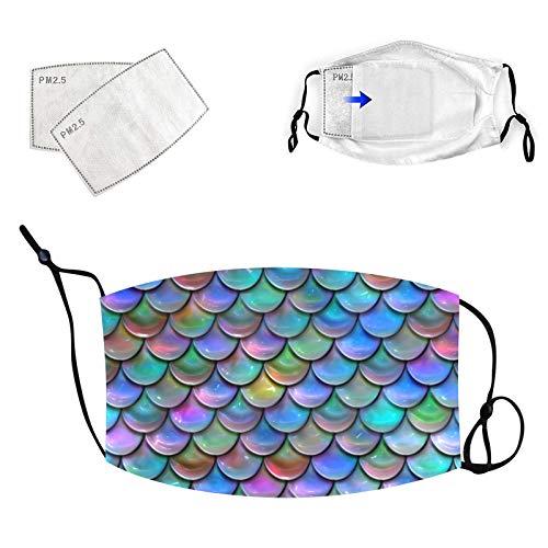 tohole Erwachsene Mundschutz 3D Cartoon Fischschuppen Druck_Maske, Print Maske Waschbar Wiederverwendbar Baumwolle,Stoffmaske Mund-Nasen Bedeckung Bandana Halstuch