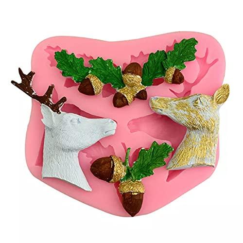 SUNSK Nuevo Molde de Silicona navideño con Cabeza de Ciervo, astas de piñones, Molde de Chocolate, Paso seco, Herramienta Decorativa de azúcar con Tapa