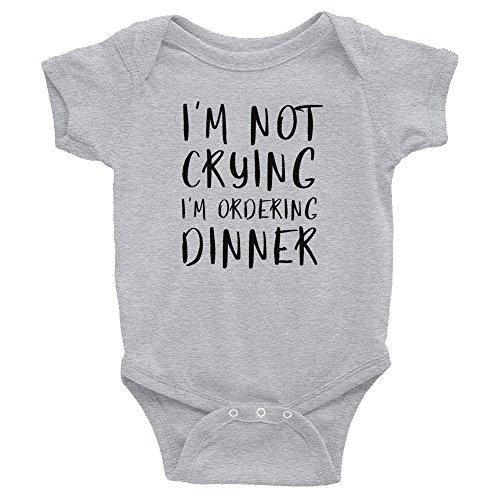 "DKISEE Body unisex para bebé, con texto en inglés ""I M not lloring, I'M Not Crying I'M Ordering Dinner Grey Funny Infant Romper manga corta para bebé 18 meses"