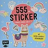 555 Sticker – Flamingo, Einhorn, Lama und Co.: Mit süßen Stickern und Ausmalbildern