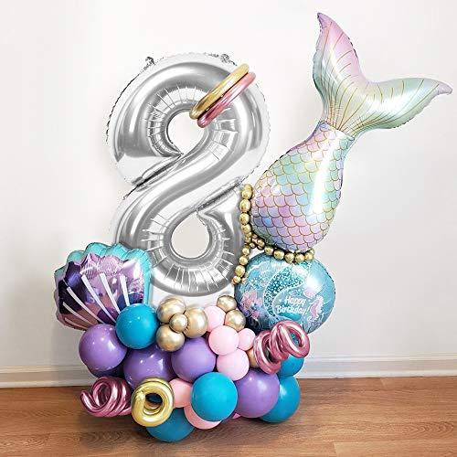 MMTX Sirena Decoración de Globos de Cumpleaños 8 Años, Globos Numeros Gigantes 8, Globos Helio Sirena, Cumpleaños Globos 8 Años Niña para Fiestas de Cumpleaños y Aniversarios