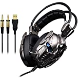 Head-montato Gaming Headset, 3.5-channel oro subwoofer Computer Gaming Headset vibrazione WTZ012 (Color : Black)