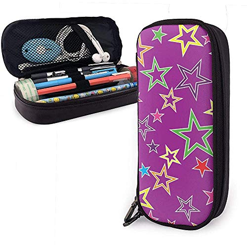 Color Stars Cute Pu Leather Pencil Case 20X9X4cm Double Zippers Pencil Pouch Bag for School Office Girls Boys Adultos