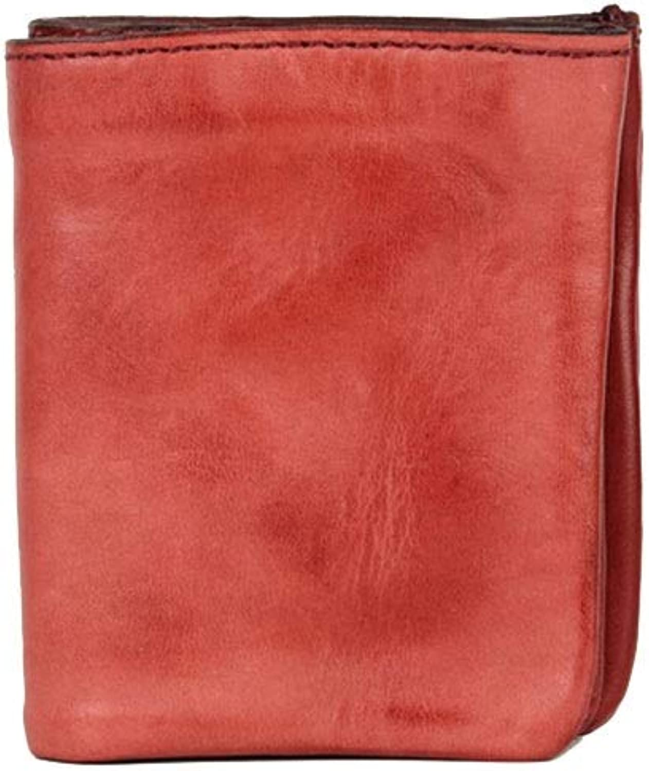 Women's Wallet Leather Short Ladies Wallet Vintage Men's Wallet Casual Soft Leather Neutral Handbag (color   Red)