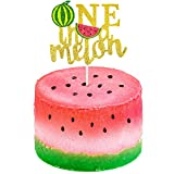 One in a Melon Cake Topper Glitter Watermelon Cupcake Topper 1st Birthday Party Cake Decor Watermelon Themed Kids Party Supplies Decorations for Baby Shower, Girl's Birthday