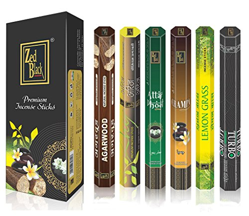 Aroma Serie Superior Palos de fragancias - Pack de 6 - Serene y Fascinante Palillos de Incienso 120...