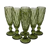 Nuevo Homevibes Juego de 6 Copas de Champgane/Cava, Diseño con Relieve, Capacidad 170ml, Medidas 6x20, (Verde)