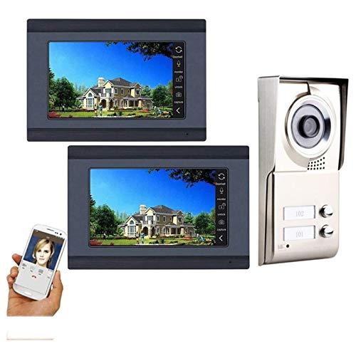 7 Pulgadas 2 Monitores Registro a Prueba de Agua Inalámbrico Videoportero Teléfono Intercomunicador Sistema de Seguridad Cámara de Visión Nocturna con 2 Botones (Color : Black, Size : 180x95x25mm)