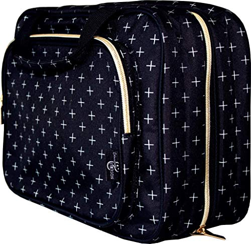 Charlotte and Emerson Portofino Weekender Bag - Hanging Travel Organizer for Toiletries, Makeup, Medicine, Grooming, Shower and Hygiene Essentials - Large Compartments, Multiple Pock