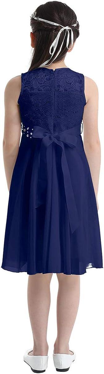 YUUMIN Kids Girls Sleeveless Sequined Chiffon Lace Flower Girl Wedding Bridesmaid Dress