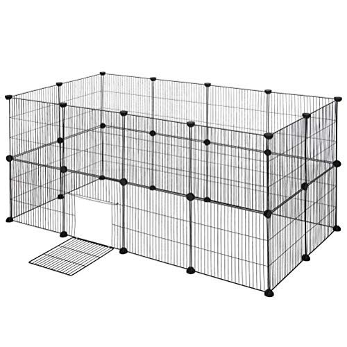 Aiglen Mascota DIY alambre de metal ejercicio mascota correr con puerta bridas jaula de animales pequeños para cachorros gatito conejitos conejillo de indias (Size : 142x71x71cm)